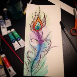 Watercolor painting and ink drawing