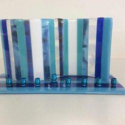 Fused glass menorah