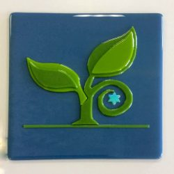 Fused glass logo commissioned piece