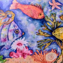 Watercolor undersea scene